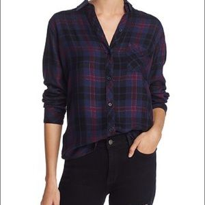 Rails Hunter Midnight Merlot Gold Plaid Flannel